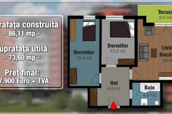 Apartament 3 camere de vanzare in bloc nou,Targu Mures Tudor