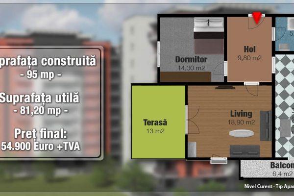 Apartament 2 camere de vanzare cu balcon+terasa in bloc nou,Targu Mures Tudor