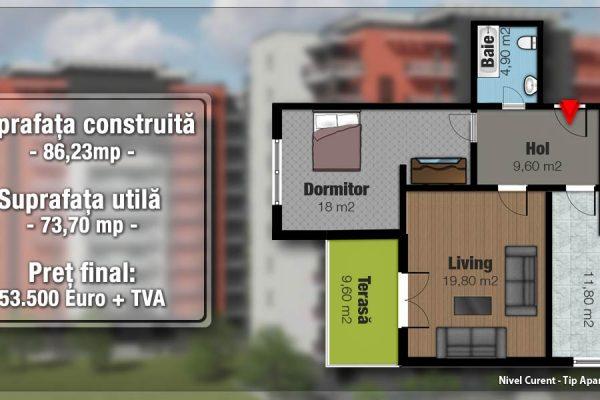 Apartament 2 camere de vanzare cu terasa in bloc nou,Targu Mures Tudor