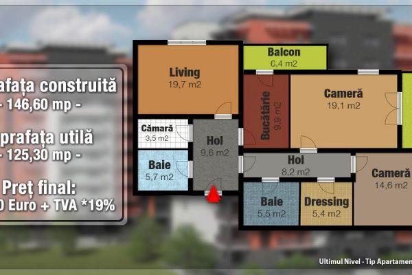 Penthouse 3 camere de vanzare in bloc nou,Targu Mures Tudor